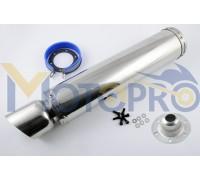 Глушитель (тюнинг) 420*100mm, креп. Ø78mm (нержавейка, хром, mod:24)