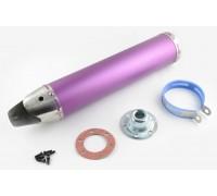 Глушитель (тюнинг) 420*100mm, креп. Ø78mm (нержавейка, фиолетовый, прямоток, mod:3)