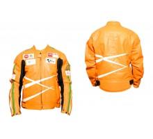 Мотокуртка DAQINESE (кожзам) (size:XXL, оранжевая, mod:...
