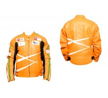 Мотокуртка DAQINESE (кожзам) (size:XXXL, оранжевая, mod...
