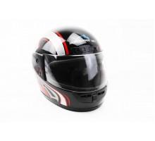 Шлем закрытый HF-101 S- ЧЕРНЫЙ с красно-серым рисунком ...