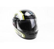Шлем закрытый HF-101 M- ЧЕРНЫЙ с желто-серым рисунком Q...
