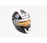 Шлем закрытый HF-122 L- ЧЕРНЫЙ глянец с белой полосой Q66