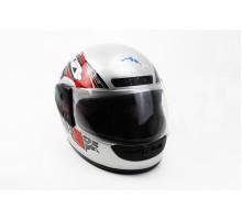 Шлем закрытый HF-101 M- СЕРЫЙ с красно-черным рисунком ...