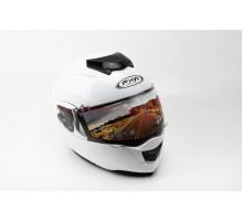 Шлем закрытый с откидным подбородком+очки HF-119 S- БЕЛ...