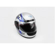 Шлем закрытый HF-101 M- СЕРЫЙ с черно-синим рисунком Q2...