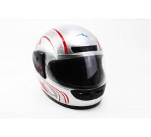 Шлем закрытый HF-101 S- СЕРЫЙ с красно-серым рисунком Q...