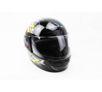 Шлем закрытый HF-101 S- ЧЕРНЫЙ с желто-серым рисунком Q42-Y