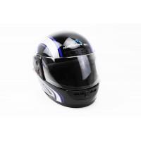 Шлем закрытый HF-101 S- ЧЕРНЫЙ с сине-серым рисунком Q2...