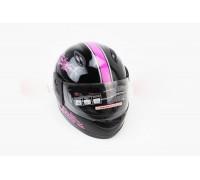 Шлем детский закрытый 801 XXS - ЧЕРНЫЙ с рисунком розовым