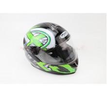 Шлем закрытый HF-122 М- ЧЕРНЫЙ глянец с бело-зеленым ри...
