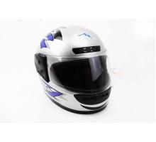 Шлем закрытый HF-101 M- СЕРЫЙ с сине-черным рисунком Q4...