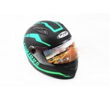 Шлем закрытый HF-111 L- ЧЕРНЫЙ матовый с зеленым рисунк...